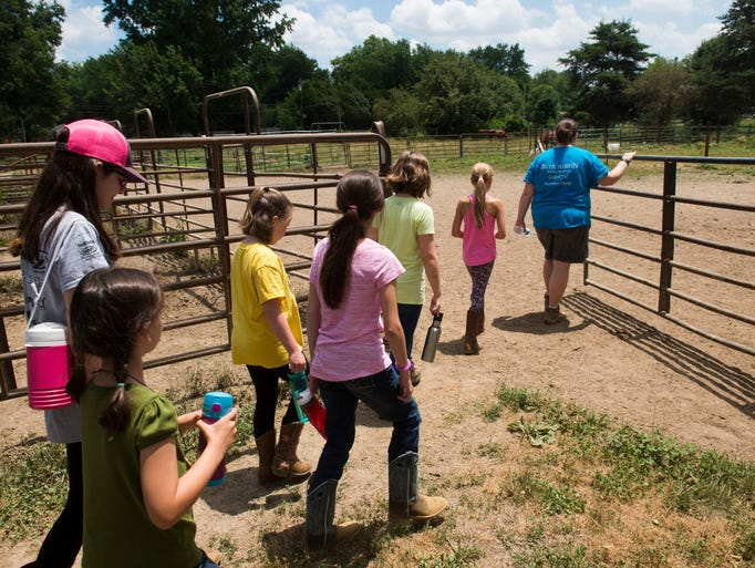 Jill Ingram leads her campers to the goat pens at the