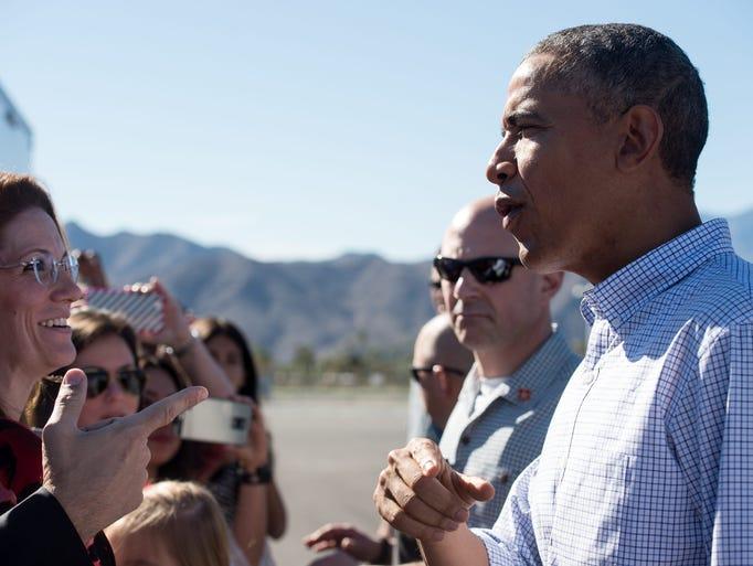 President Barack Obama greets wellwishers on February