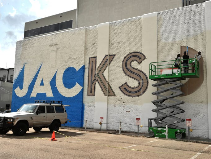 "The ""Welcome to Jackson"" mural as it was in mid-production"