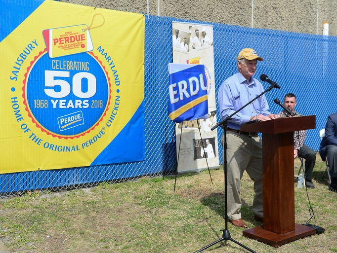 Jim Perdue speaks during the 50th Anniversary celebration