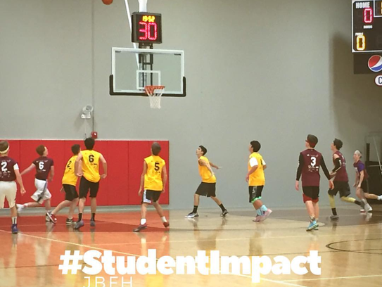 Student Impact basketball at Jonathan Byrd's Fieldhouse.