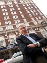 Jack Kay, chairman of the York County Industrial Development Authority, stands in front of the Yorktowne Hotel, which the authority bought in December for $1.8 million. The state awarded the IDA a $10 million grant to renovate the historic hotel.