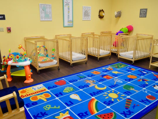 Nap areas for infants are seen at For My Child Learning Center.