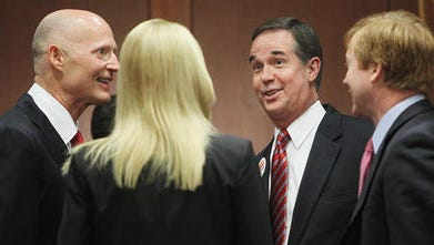 Gov. Rick Scott and the Florida Cabinet. From left, Scott, Attorney General Pam Bondi, CFO Jeff Atwater and Agriculture Commissioner Adam Putnam.
