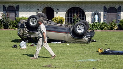 Two people were transported to the hospital following this 2009 two-vehicle crash on Johnston Street near Maurice, Louisiana.