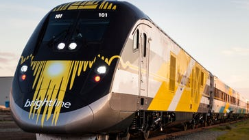 All Aboard Florida's first Brightline train leaves a Siemens manufacturing facility in Sacramento, California, on Dec. 8, 2016. Brightline is to begin limited passenger service in 2018.