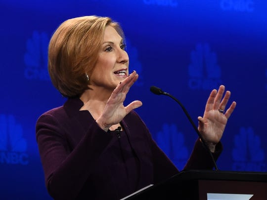 Carly Fiorina speaks during the CNBC Republican presidential