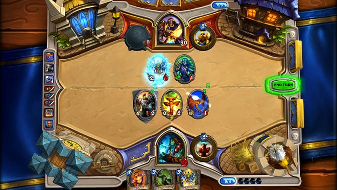 A screenshot from the collectible card game Hearthstone: Heroes of Warcraft.