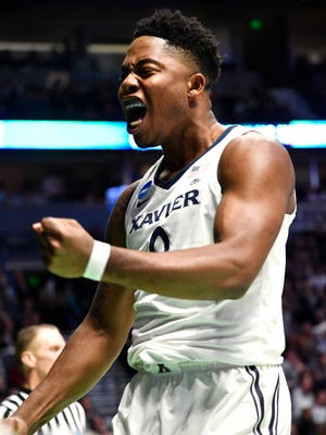 Xavier forward Tyrique Jones (0) celebrates during the second half of their first round game in the 2018 NCAA Division I Men's Basketball Championship at Bridgestone Arena Friday, March 16, 2018 in Nashville, Tenn.