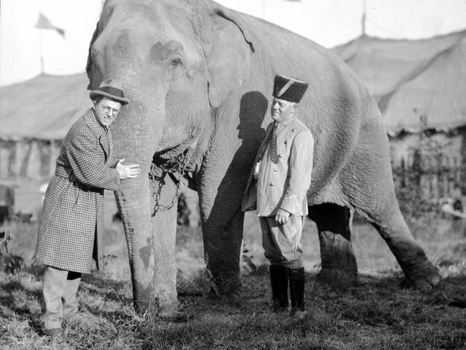 Karl Kae Knecht and man with Ringling Brothers Circus