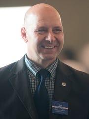 Doug Mastriano speaks to a group Thursday, April 26,