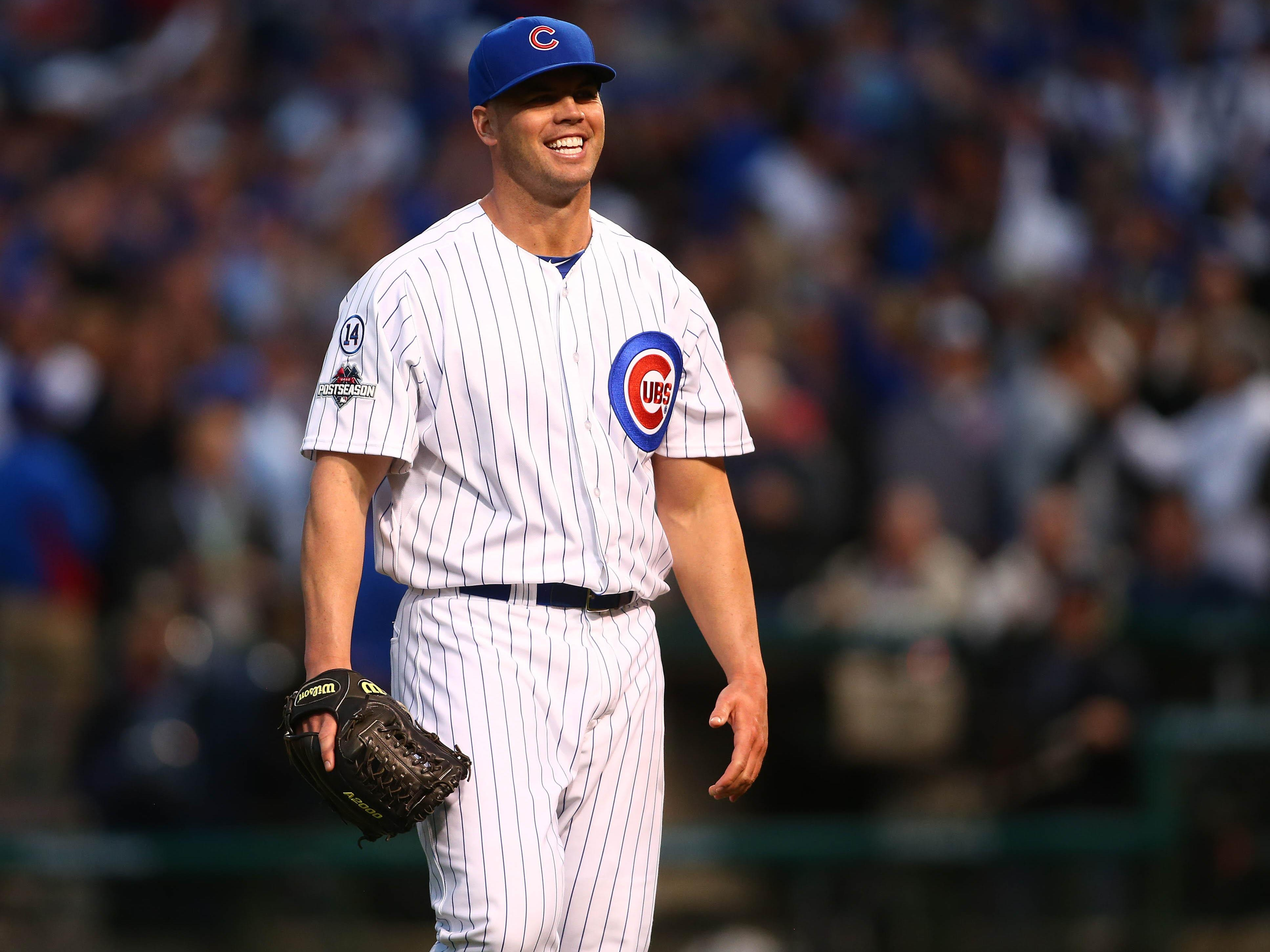 Chicago Cubs relief pitcher Clayton Richard (33) reacts after he pitches the seventh inning against St. Louis Cardinals in game four of the NLDS at Wrigley Field.