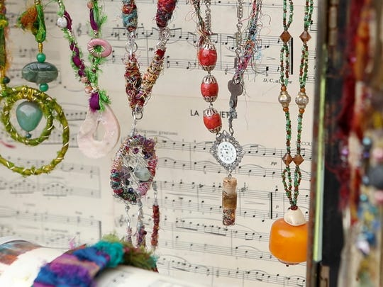 Jewelry by 'Jewel In The Lotus Designs' at the Pacem Music Festival Sunday in Wilmington.