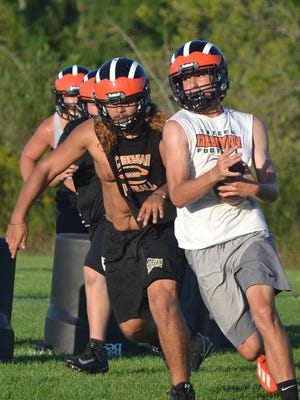 Cheboygan football players practice at the Western Avenue practice field on Wednesday. On Friday, the MHSAA announced that the 2020 fall football season will be moved to the spring of 2021.