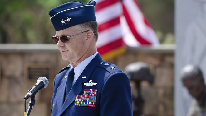 Major General Steven Cray, pictured on Memorial Day in 2013, has announced a deployment of five members of the Vermont Operational Support Airlift Detachment to the Horn of Africa.
