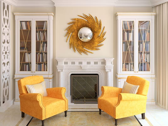 3D render of yellow chairs in modern living room