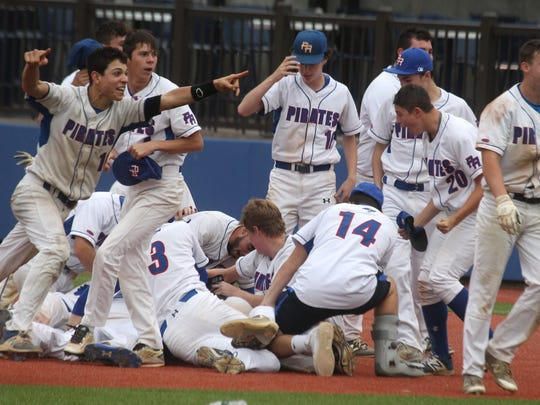 Pearl River players celebrate their 6-5 win over Nyack in the Class A baseball final at Dutchess Stadium May 27, 2017.