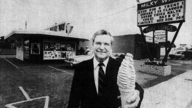 Gerry Bruget owned the original B&G Milky Way on West 12th Street and is shown with a signature cone in this photo from about 1985.