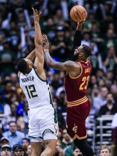 Photos: Bucks 118, Cavaliers 101 Jabari Parker Lebron James