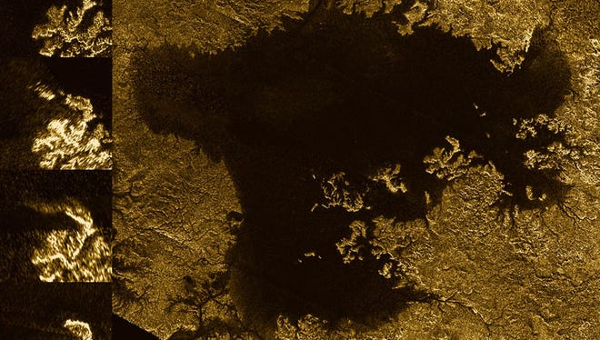 These images from the radar instrument aboard NASA's Cassini spacecraft show the evolution of a transient feature in the large hydrocarbon sea named Ligeia Mare on Saturn's moon Titan, according to NASA.