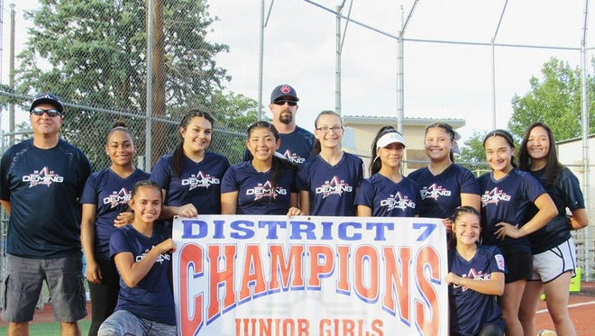 The Deming Junior Girls (ages 13-14) won the New Mexico Little League District 7 Softball Championship and are headed to the state tournament. They will meet Clovis All Stars at 5:30 p.m. on Friday in Albuquerque. The team is, standing from left,Head Coach Mike Valverde, Tenisha Vargas, Valerie Munoz, Nayeli Trujillo, Assistant Coach Martin McMillian, Lilly McMillan, Isis Olivas, Analisse Gomez, Marisol Denogean andManager Candie Jurado. Kneeling, from left, areJocelynn Aguayo and Bianca Valverde. Not Pictured are Chloe Gray, Briana Flores and Jaelynn Gonzales.