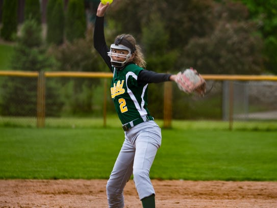 Pennfield's Alexa Stephenson throws a strike during