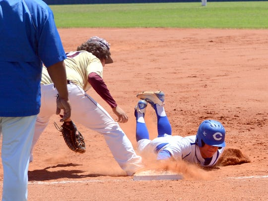 Carlsbad's Garret Day stays put at first base during