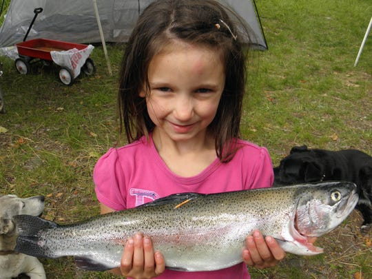 Cameron Michelle Francis Briggs, 6, of Gaston, caught this 21-inch rainbow trout on a worm on June 28 while camping with her family at Detroit Lake.
