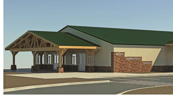 A new community center, shown in this artist's rendition, is being built in Weed to replace the one that burned down in the 2014 Boles Fire.