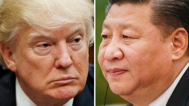 President Trump, Washington, March 28, 2017, and Chinese President Xi Jinping, Beijing, Feb. 22, 2017.
