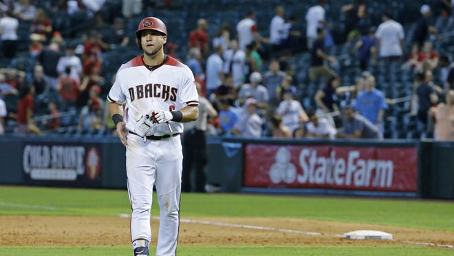 Arizona Diamondbacks right fielder David Peralta (6) walks off the field after hitting into a double play to end their MLB game against the Tampa Bay Rays Wednesday, June 8, 2016 in Phoenix, Ariz.