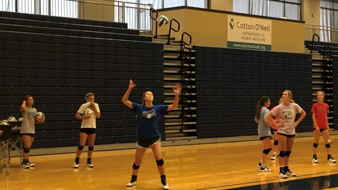 Washburn Rural sophomore Brooklyn DeLeye serves the ball during the Junior Blues' season-opening volleyball practice Monday morning. Rural placed second in Class 6A last season while DeLeye is a returning All-State selection.