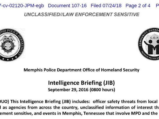 A screen shot from a Joint Intelligence Briefing created and distributed by the Memphis Police Department.