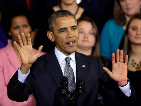 President Obama speaks at Boston's Faneuil Hall Oct. 30 about the federal health care law.