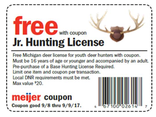 Meijer has offered free junior deer hunting licenses