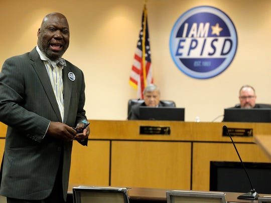TEA Commissioner Michael Williams addresses the crowd on hand before the swearing in of the newly elected EPISD tustees, thanking the board of managers for their service to the EPISD community.""