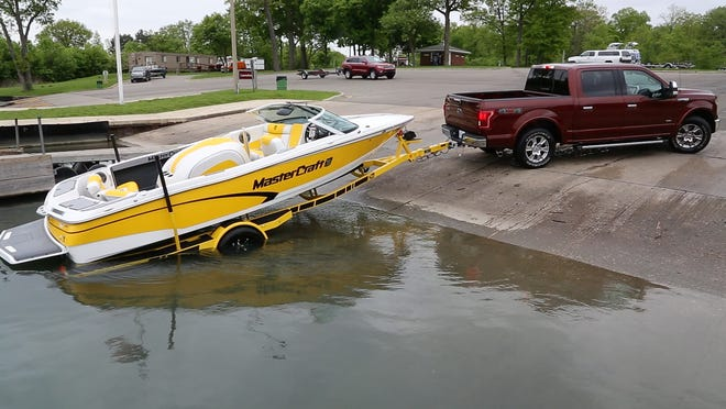 Easy, now: The Pro Trailer Backup Assist on the 2016 Ford F-150 is tested at Elizabeth Park Marina in Trenton.
