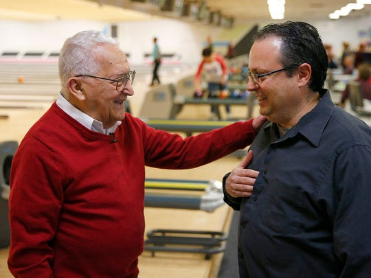 Sammy Manuele, 99, chats with Asbury Park Press reporter Jerry Carino after they bowled at the Playdrome Bowling Alley in Toms River.