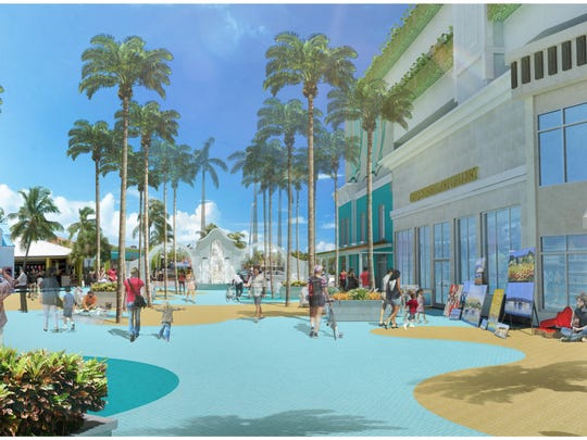 Conceptual renderings show the new Grand Resorts plan for redeveloping downtown Fort Myers Beach.  .