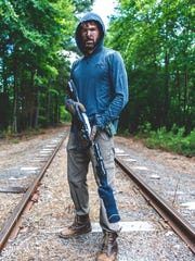 """Abraxas Hudson, a Sussex County artist, plays Flak, a character in the dark comedy """"Havendale,"""" in this photo from the set."""
