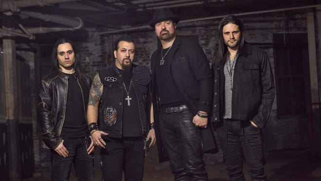 David Zablidowsky, far right, was killed in an accident involving Adrenaline Mob's tour RV on Friday. The band (the other members are, from left, Jordan Cannata, Mike Orlando and Russell Allen) were scheduled to perform in Clifton on Saturday.