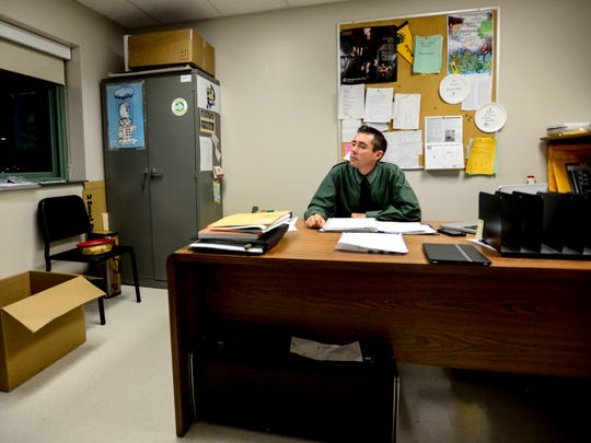 Vestal's band director Greg Harris gets into his office at 5a.m. on Sunday, Oct. 26, just about an hour before the bus is scheduled to leave for Syracuse.