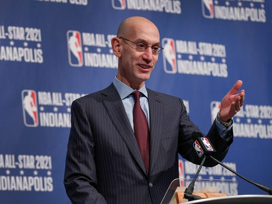 NBA commissioner Adam Silver announces the NBA All-Star game will be coming to Indianapolis in the year 2021Wednesday, Dec13, 2017.