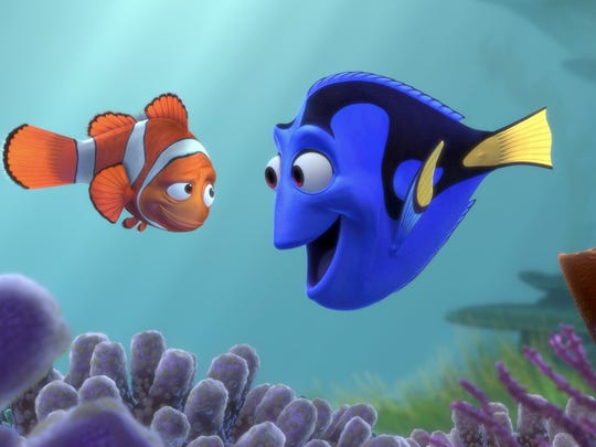 "Marlin teams up with Dory to find his son in ""Finding Nemo."""