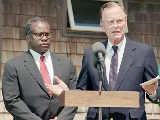 President George H.W. Bush introduces Clarence Thomas