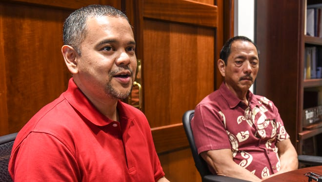 Sen. Dennis Rodriguez Jr., left, is seated with Legislative Speaker Benjamin J. Cruz, during a press conference at the Guam Congress Building in Hagåtña on Friday, Feb. 2, 2018. Both lawmakers spoke out on the recent request of additional funding made by the staff and management of the Guam Memorial Hospital Authority.