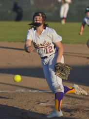 Early pitcher Makayla Deleon delivers a first-inning