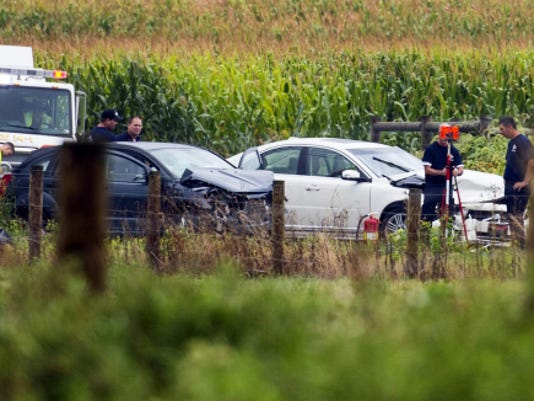 Emergency crews and the Lebanon County Accident Reconstruction Team investigate the scene of a two-vehicle accident on Colebrook Road between Rocherty and Spangler roads in North Cornwall Township on Tuesday. A backseat passenger, a female whose age and identity were not immediately available, was critically injured and taken to Hershey Medical Center.