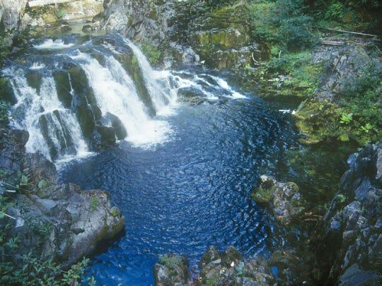 Sawmill Falls along Opal Creek Trail is in an area that is still closed.
