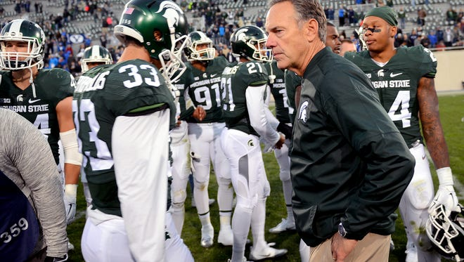 MSU head coach Mark Dantonio looks on after MSU's 31-14 loss to BYU Saturday. His team is 2-3 after losing three straight games.